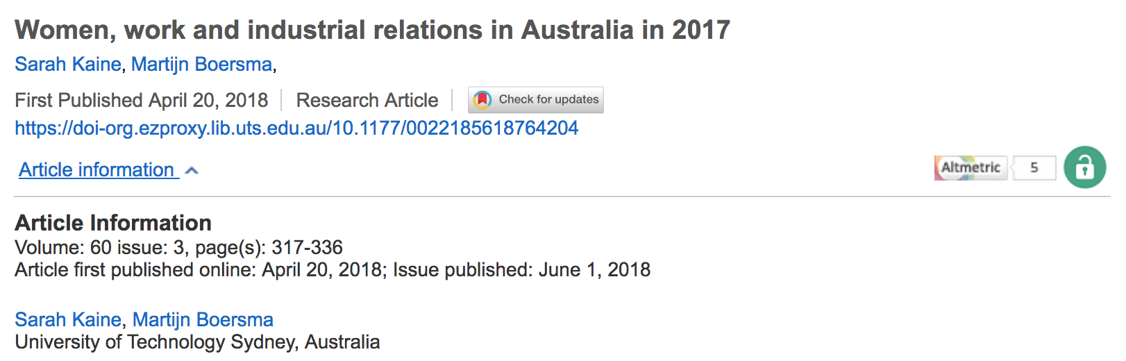 Gender at Work and in Industrial Relations: Australia in 2017